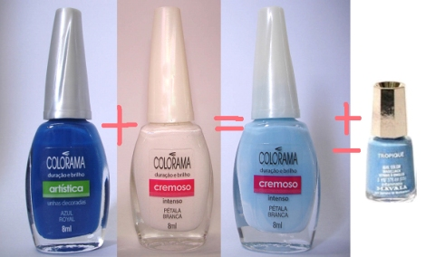 azul royal + pétala branca +- = Tropique Mavala